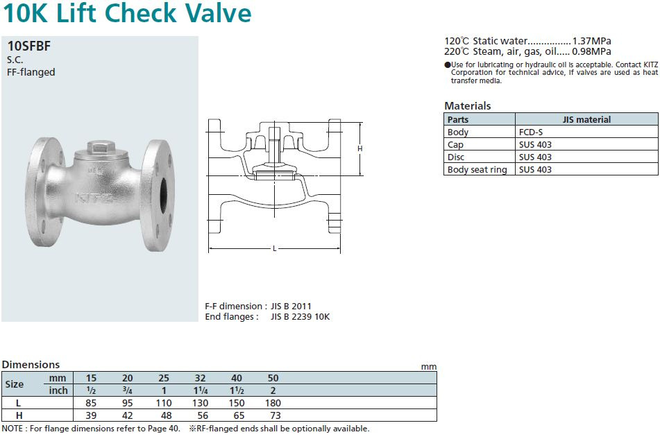 KITZ_Check Valve_Fig.10SFBF_K C MAHANAKORN CO.,LTD.