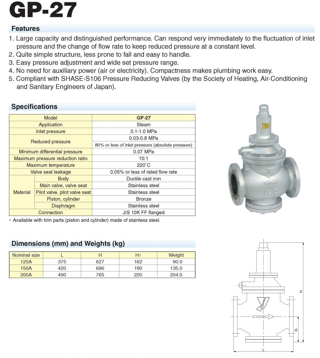 YOSHITAKE_Pressure Reducing Valve_Model : GP-27_K C MAHANAKORN CO.,LTD.
