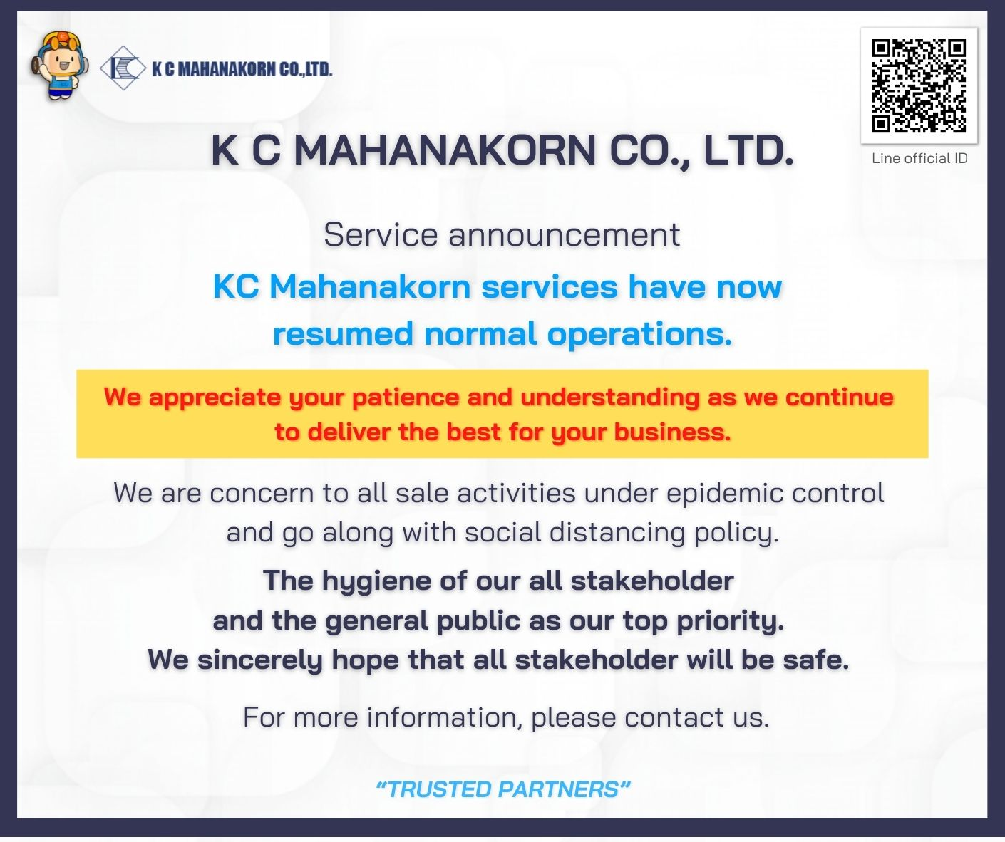 Service announcement KC Mahanakorn services have now resumed normal operations.